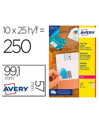 Etiqueta adhesiva avery permanente para impresora laser blanca 991x57 mm caja de 250 unidades