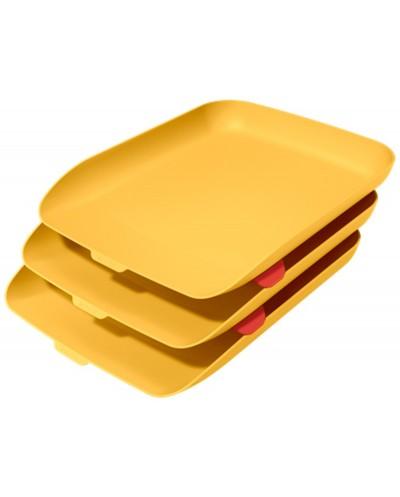 Bandeja sobremesa plastico leitz cosy set de 3 unidades amarillo