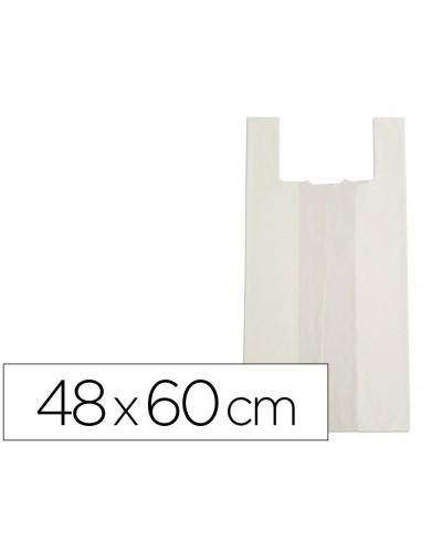 Bolsa camiseta bio compostable blanco natural 25 mc 48x60 cm apta legislacion de bolsas 2021