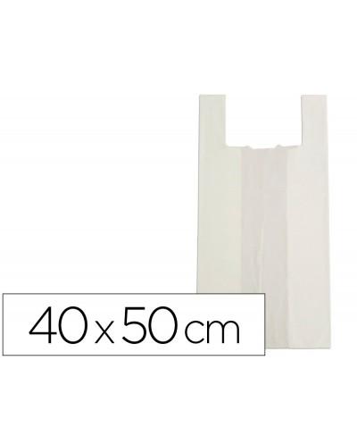 Bolsa camiseta bio compostable blanco natural 175 mc 40x50 cm apta legislacion de bolsas 2021