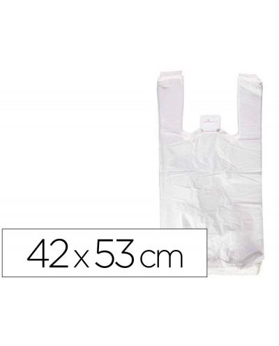 Bolsa camiseta reciclada 70 blanca 50 mc 42x53 cm apta legislacion de bolsas 2021