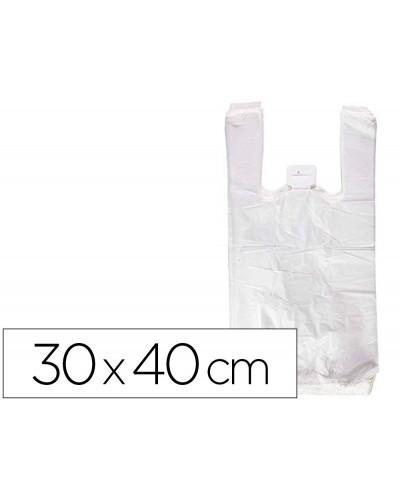 Bolsa camiseta reciclada 70 blanca 50 mc 30x40 cm apta legislacion de bolsas 2021