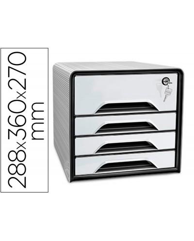 Fichero cajones de sobremesa cep smoove secure con cerradura 4 cajones color blanco negro 288x360x270 mm