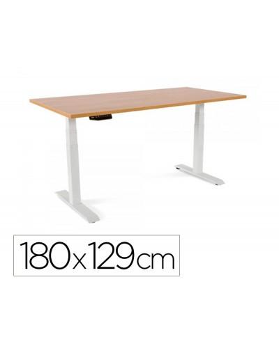 Mesa rocada regulable en altura electricamente hasta 129 cm estructura de acero tablero 180 cm color roble
