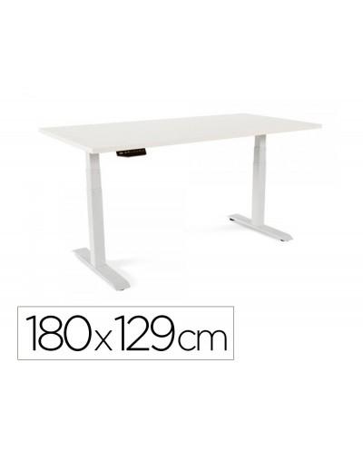 Mesa rocada regulable en altura electricamente hasta 129 cm estructura de acero tablero 180 cm color blanco