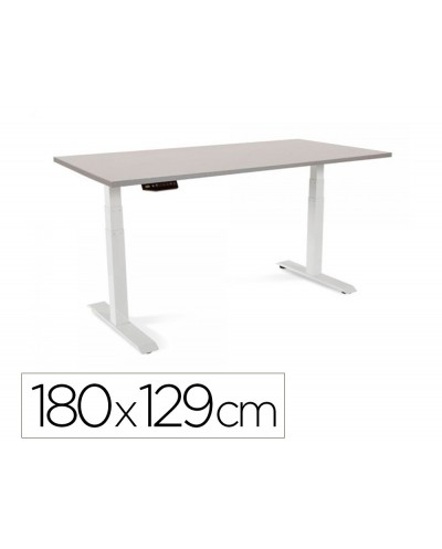 Mesa rocada regulable en altura electricamente hasta 129 cm estructura de acero tablero 180 cm color gris