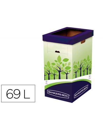 Contenedor papelera reciclaje fellowes carton doble 100 reciclado montaje manual entrada superior 69 litros