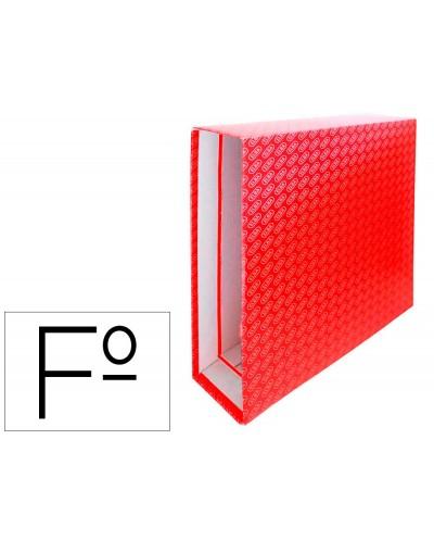 Caja archivador de palanca carton forrado elba folio lomo 85 mm rojo