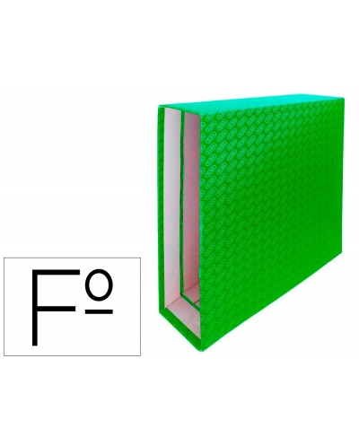 Caja archivador de palanca carton forrado elba folio lomo 85 mm verde