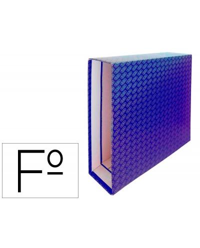 Caja archivador de palanca carton forrado elba folio lomo 85 mm azul