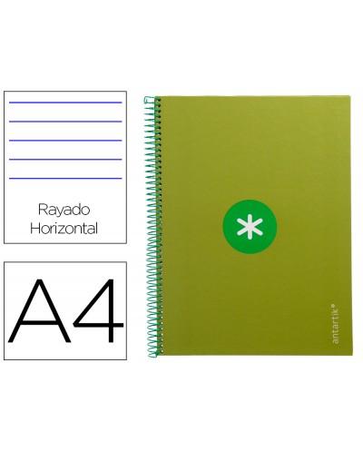 Cuaderno espiral liderpapel a4 micro antartik tapa forrada80h 90 gr horizontal 1 banda 4 taladros color verde