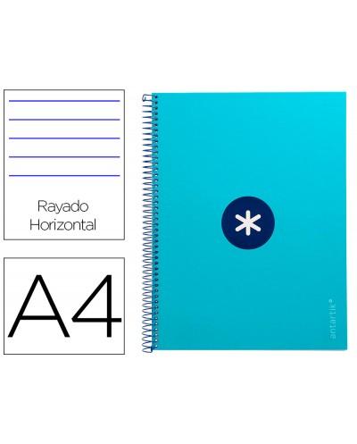 Cuaderno espiral liderpapel a4 micro antartik tapa forrada80h 90 gr horizontal 1 banda 4 taladros color turquesa