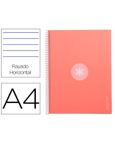 Cuaderno espiral liderpapel a4 micro antartik tapa forrada80h 90 gr horizontal 1 banda 4 taladros color rosa claro