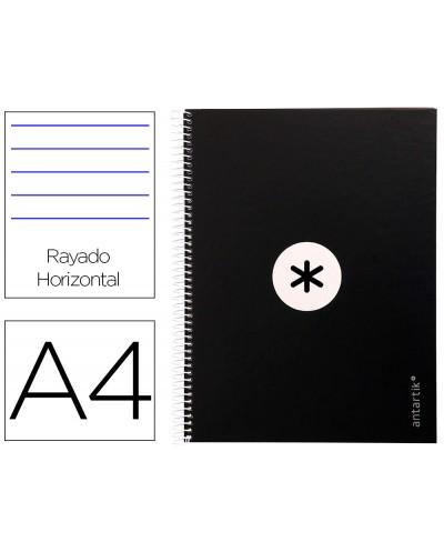 Cuaderno espiral liderpapel a4 micro antartik tapa forrada80h 90 gr horizontal 1 banda 4 taladros color negro