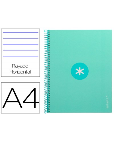 Cuaderno espiral liderpapel a4 micro antartik tapa forrada80h 90 gr horizontal 1 banda 4 taladros color menta