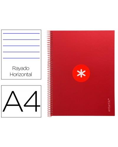 Cuaderno espiral liderpapel a4 micro antartik tapa forrada80h 90 gr horizontal 1 banda 4 taladros color frambuesa