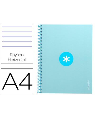Cuaderno espiral liderpapel a4 micro antartik tapa forrada80h 90 gr horizontal 1 banda 4 taladros color celeste