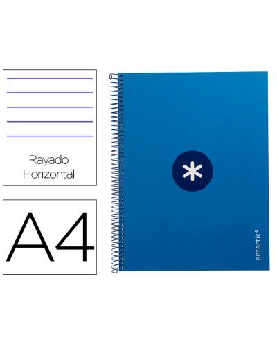 Cuaderno espiral liderpapel a4 micro antartik tapa forrada80h 90 gr horizontal 1 banda 4 taladros color azul oscuro