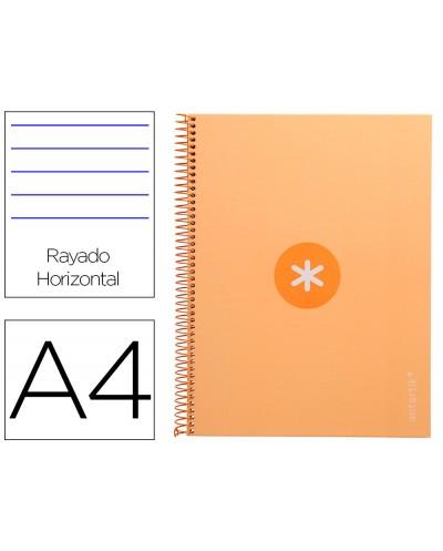 Cuaderno espiral liderpapel a4 micro antartik tapa forrada80h 90 gr horizontal 1 banda 4 taladros color amarillo clar