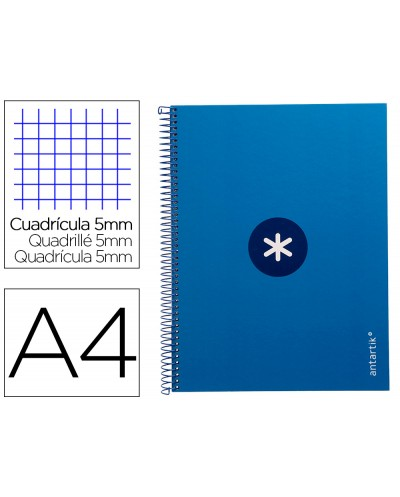 Cuaderno espiral liderpapel a4 micro antartik tapa forrada 80h 90 gr cuadro 5mm 1 banda 4 taladros azul oscuro