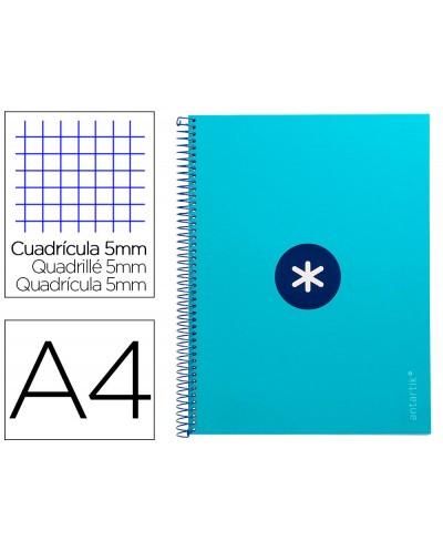 Cuaderno espiral liderpapel a4 micro antartik tapa forrada 80h 90 gr cuadro 5mm 1 banda 4 taladros turquesa