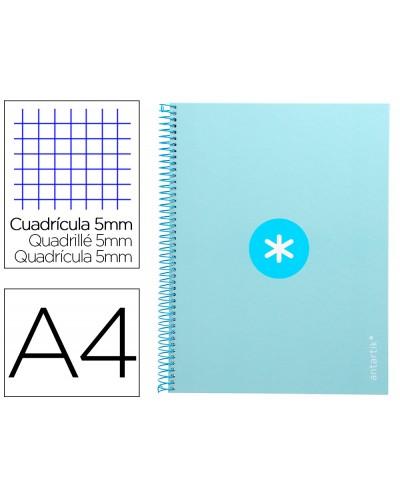 Cuaderno espiral liderpapel a4 micro antartik tapa forrada 80h 90 gr cuadro 5mm 1 banda 4 taladros celeste