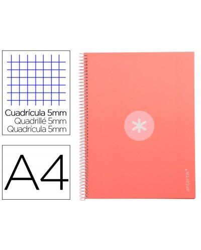 Cuaderno espiral liderpapel a4 micro antartik tapa forrada 80h 90 gr cuadro 5mm 1 banda 4 taladros rosa claro