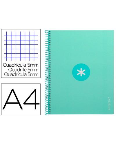 Cuaderno espiral liderpapel a4 micro antartik tapa forrada 80h 90 gr cuadro 5mm 1 banda 4 taladros menta
