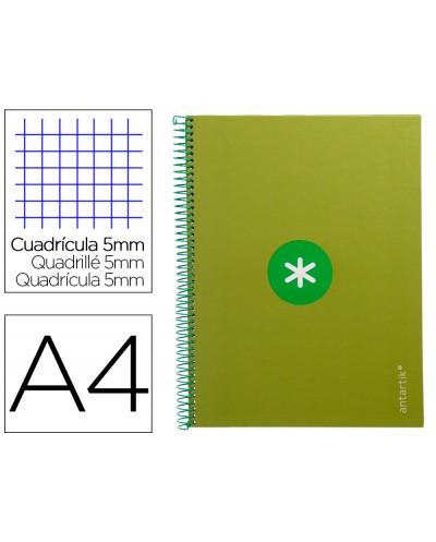 Cuaderno espiral liderpapel a4 micro antartik tapa forrada 80h 90 gr cuadro 5mm 1 banda 4 taladros verde