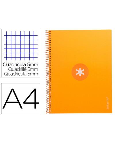 Cuaderno espiral liderpapel a4 micro antartik tapa forrada 80h 90 gr cuadro 5mm 1 banda 4 taladros mostaza