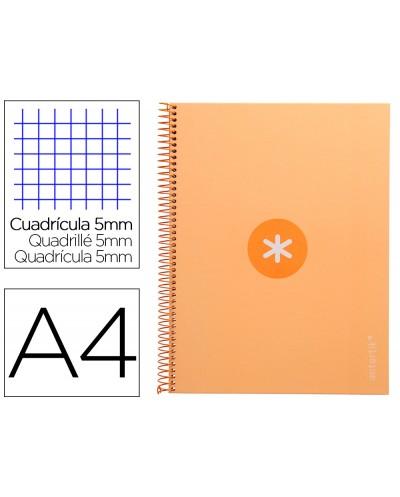 Cuaderno espiral liderpapel a4 micro antartik tapa forrada 80h 90 gr cuadro 5mm 1 banda 4 taladros amarillo cl