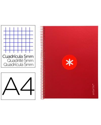 Cuaderno espiral liderpapel a4 micro antartik tapa forrada 80h 90 gr cuadro 5mm 1 banda 4 taladros frambuesa