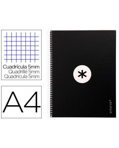 Cuaderno espiral liderpapel a4 micro antartik tapa forrada 80h 90 gr cuadro 5mm 1 banda 4 taladros negro