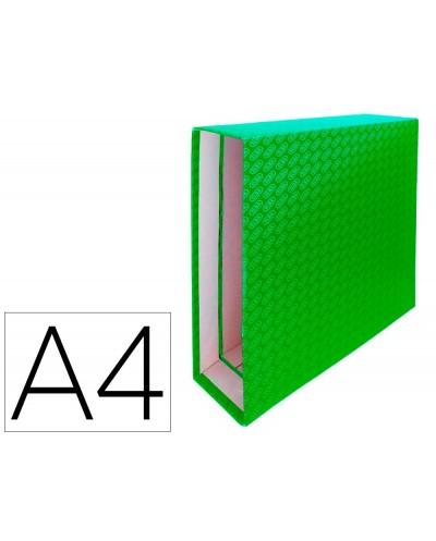 Caja archivador de palanca carton forrado elba din a4 lomo 85 mm verde