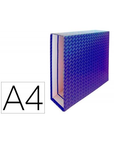 Caja archivador de palanca carton forrado elba din a4 lomo 85 mm azul