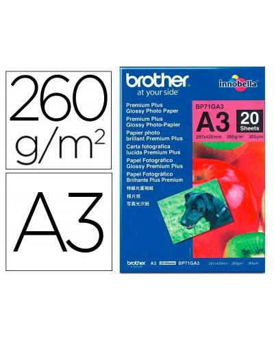 Papel foto brother brillante a3 260g m2 paquete 20 hojas