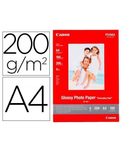 Papel foto canon a4 brillante 200gr m2 paquete 100 hojas