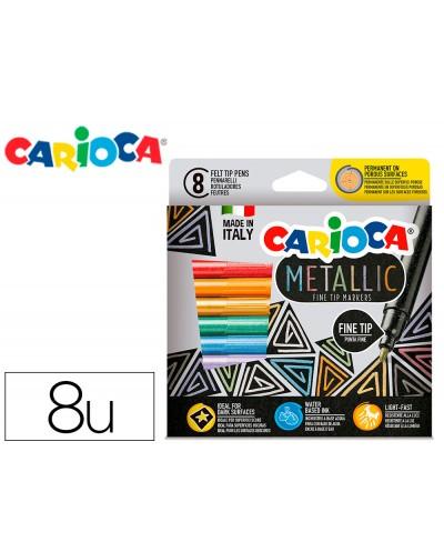 Rotulador carioca metallic punta fina caja de 8 colores surtidos