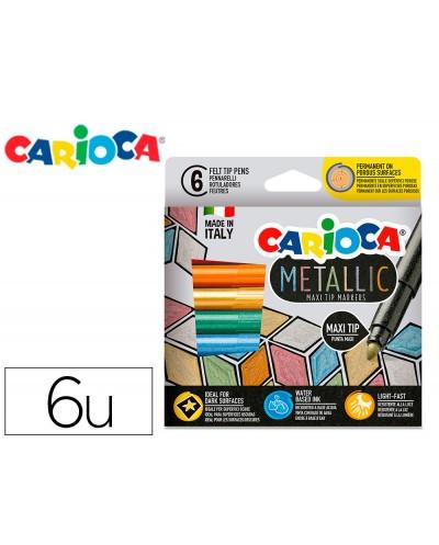 Rotulador carioca metallic punta maxi 6 mm caja de 6 colores surtidos