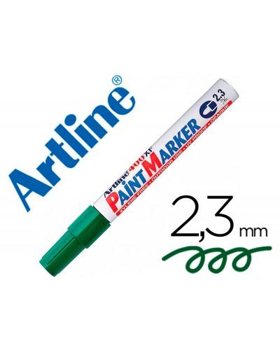 Rotulador artline marcador permanente ek 400 xf verde punta redonda 23 mm metal caucho y plastico