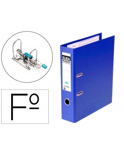 Archivador de palanca elba chic carton forrado pvc con rado folio lomo de 80 mm azul