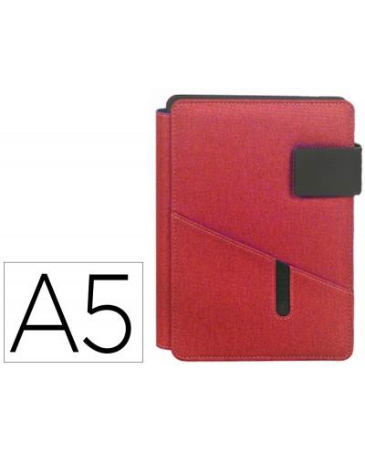 Portanotas carchivo venture din a5 con soporte smartphone cuaderno color rojo