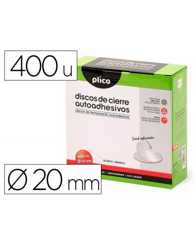 Disco de cierre plico velcro autoadhesivo 20 mm diametro color blanco caja de 400 unidades