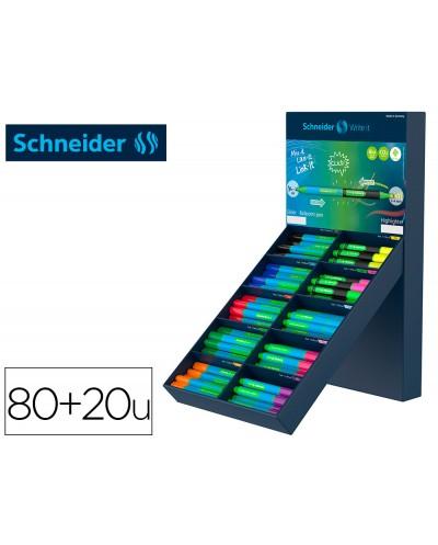 Boligrafo schneider slider caucho triangular 85 bioplastico exp 80 unidades surtidas 20 fluorescentes