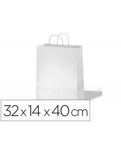 Bolsa de papel basika celulosa blanco asa retorcida tamano l 320x140x400 mm