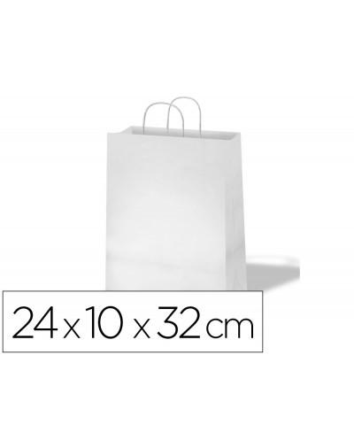 Bolsa de papel basika celulosa blanco asa retorcida tamano s 240x100x320 mm