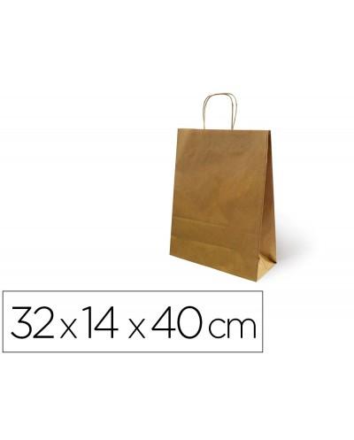 Bolsa de papel basika kraft reciclado asa retorcida liso natural tamano l 320x140x400 mm