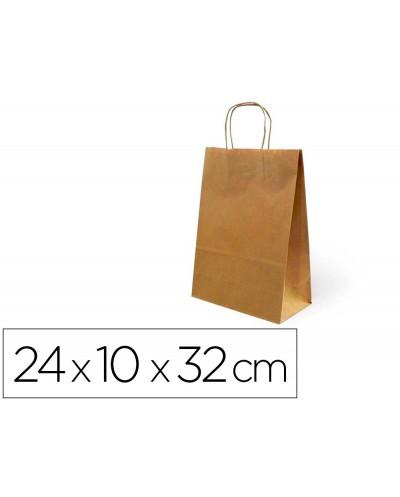 Bolsa de papel basika kraft reciclado asa retorcida liso natural tamano s 240x100x320 mm