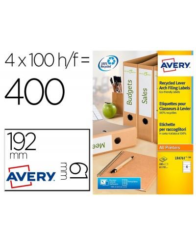 Etiqueta adhesiva avery papel blanco reciclado para archivador 192x61 mm laser pack de 400 etiquetas