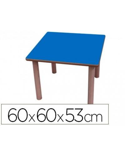 Mesa madera mobetuc t2 cuadrada con tapa laminada haya 60x60 cm